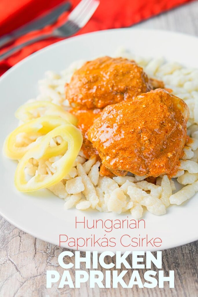 Hungarian Chicken Paprikash with Homemade Nokedli, moist chicken thighs in a velvety sweet paprika rich sauce served with fresh nokedli or dumplings #hungarianfood #chickendinner