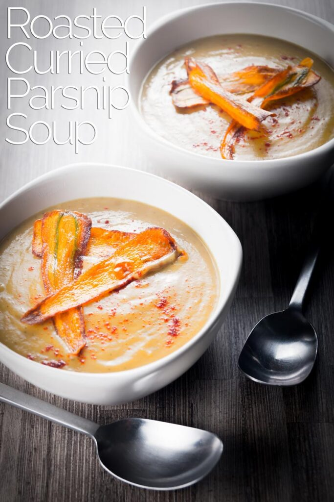 Roasting the Parsnips in this curried parsnip soup give a depth to the sweetness of the parsnip that marries perfectly with the mild curry flavours, a true British classic! #veggiesouprecipes #parsniprecipes