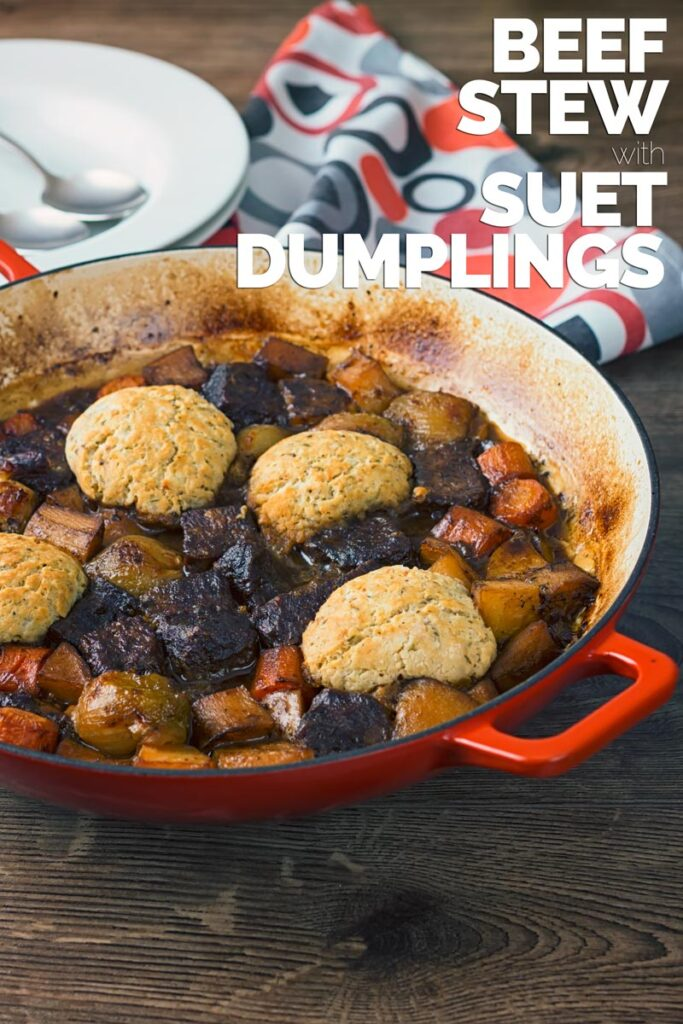 Nothing says winter to me quite like a hearty Beef Stew with obligatory suet dumplings to soak up the gravy that is loaded with dark beer! A real belly filler for the winter nights! YUM! #beefstew #comfortfood #dinnersfortwo #onepotstew #onepotdinner