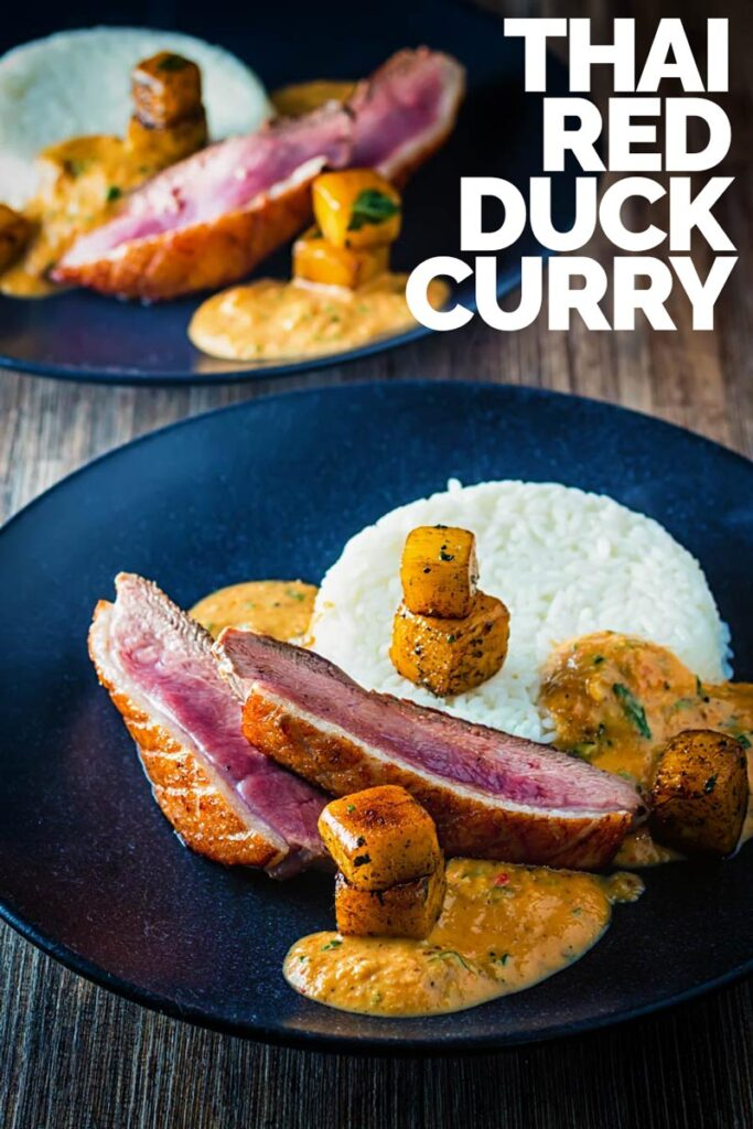 This delicious and simple slightly deconstructed Thai duck curry is full of the taste of spicy Thai flavours, sweetened with pineapple.