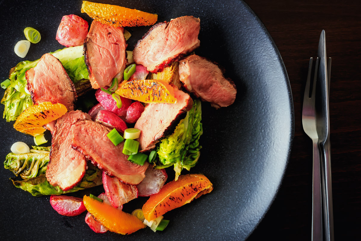 Warm Roasted Radish and Duck Salad
