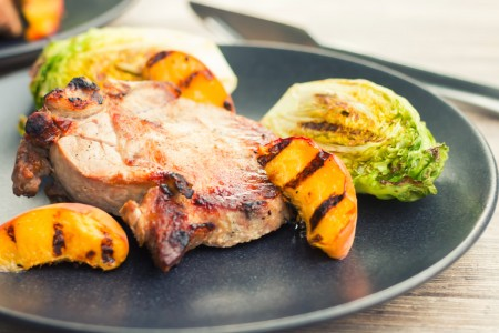 Brined Grilled pork Chops With Peaches