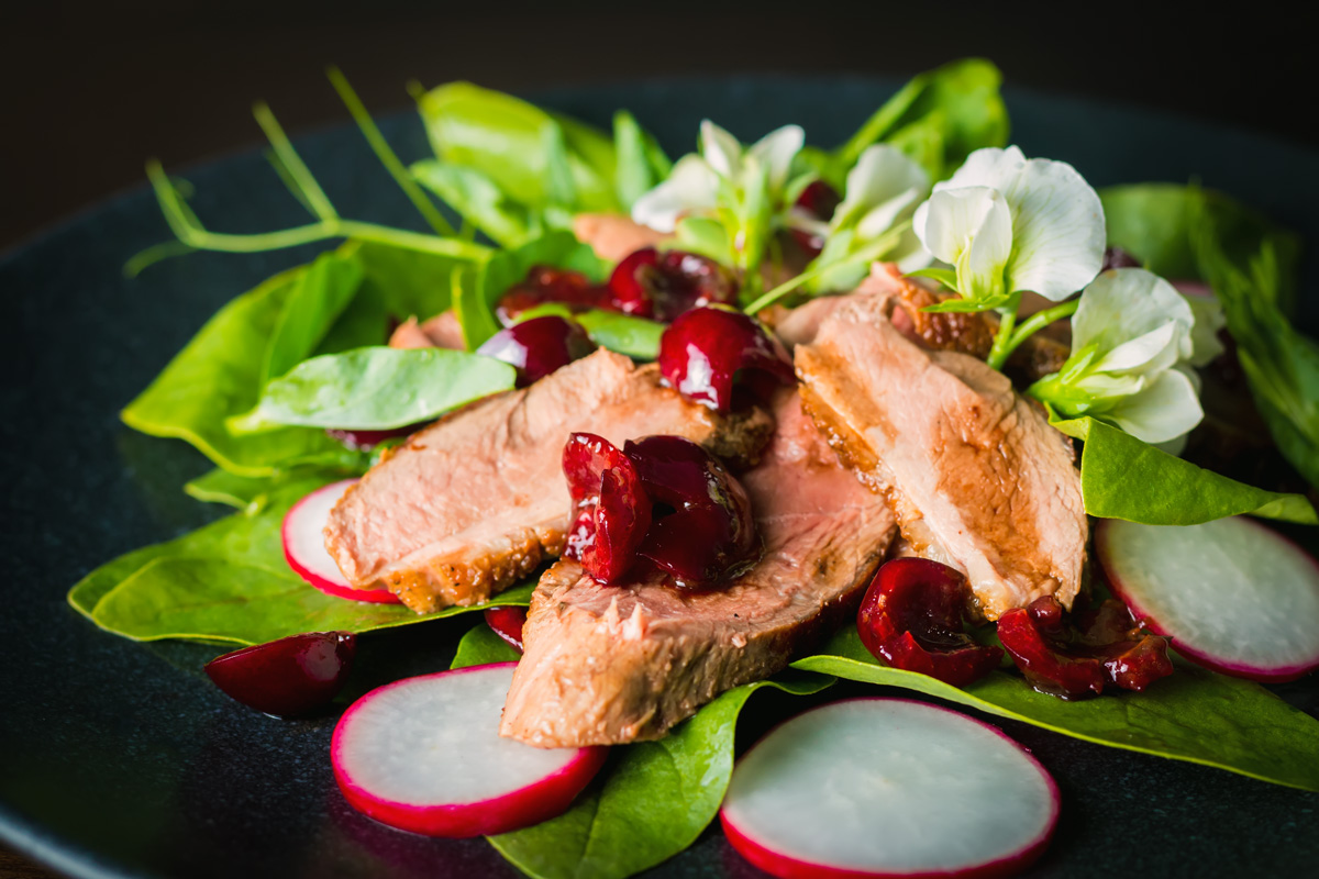 Cherry Duck Salad with Spinach and Radish