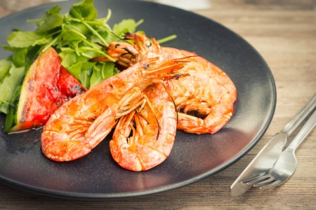 Grilled Shrimp with Watermelon and Rocket