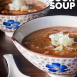 Hot and sour soup is a staple of Chinese restaurants and a personal favourite, this vegetarian version runs with tofu and shiitake mushrooms and is ready in less than 30 minutes. #simplehotandsoursoup #spicysouprecipes