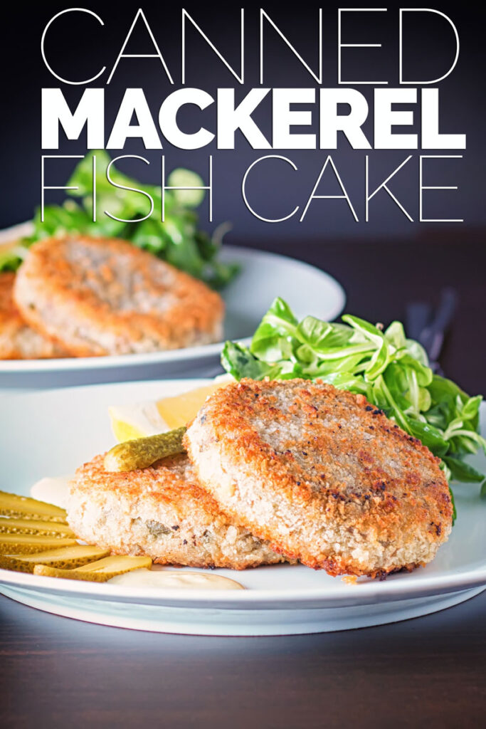 Portrait image of Canned Mackerel fish cakes with pickles on a white plate against a dark backdrop with text