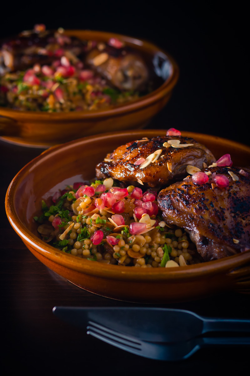 Pomegranate Chicken Thighs with Israeli Cous Cous