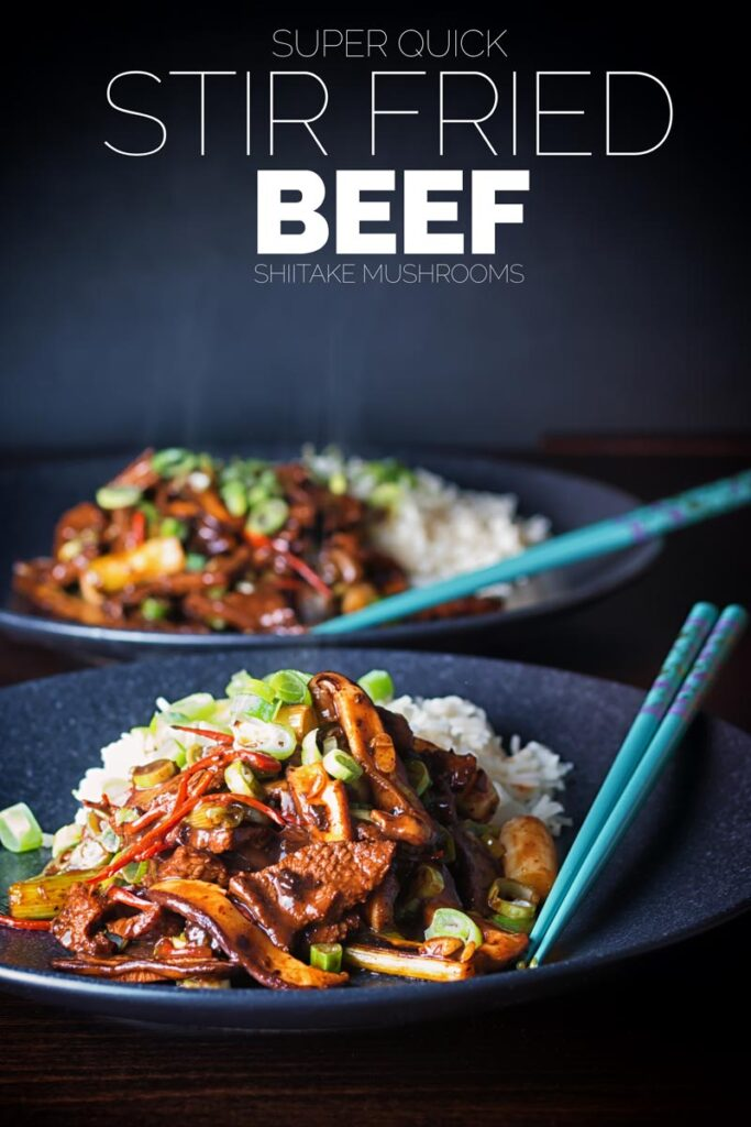 This Beef Stir Fry with Shiitake Mushrooms is so quick and simple to make and a real treat, who needs to wait for the delivery guy when this is quicker, cheaper and tastes glorious! #stirfrybeefmushroom #stirfrybeefstrips