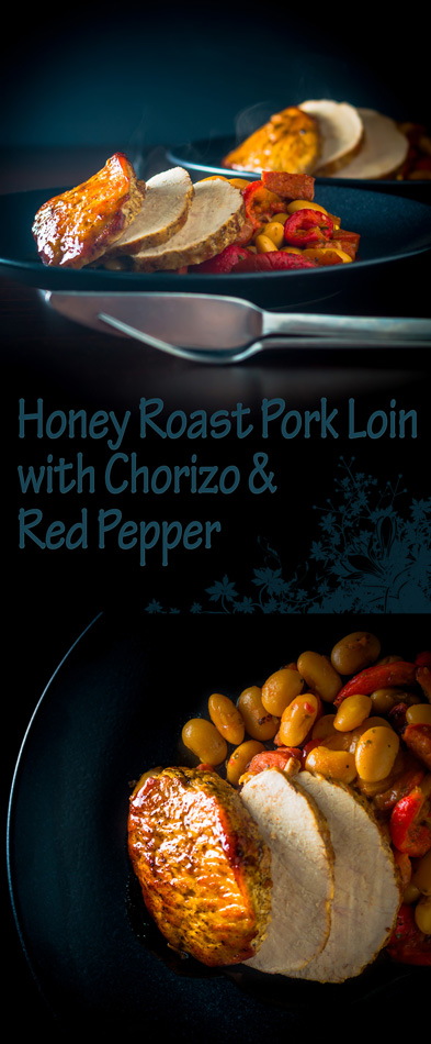 My honey roast pork loin is joined by a a chorizo studded bean and roasted red pepper side for a fab Spanish influenced meal!