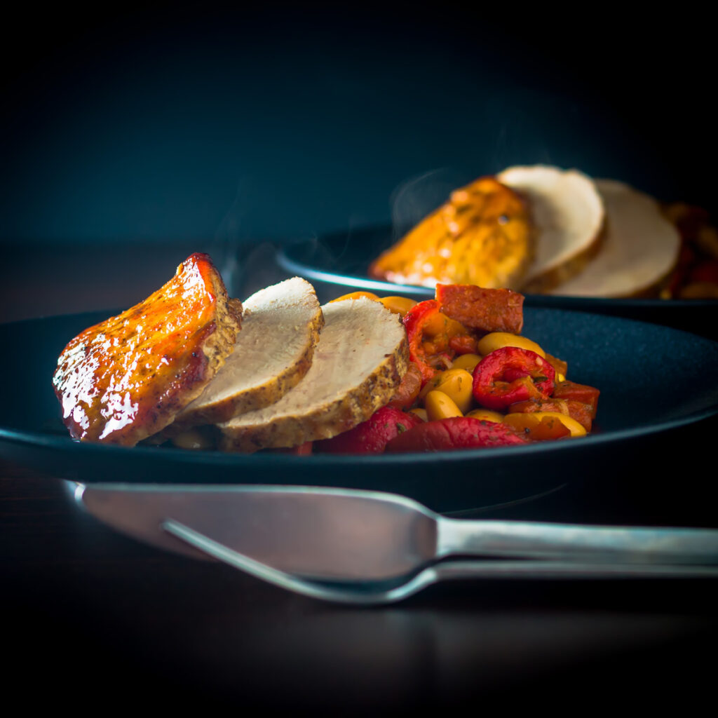 Honey Roast Pork Loin with Chorizo and Red Pepper