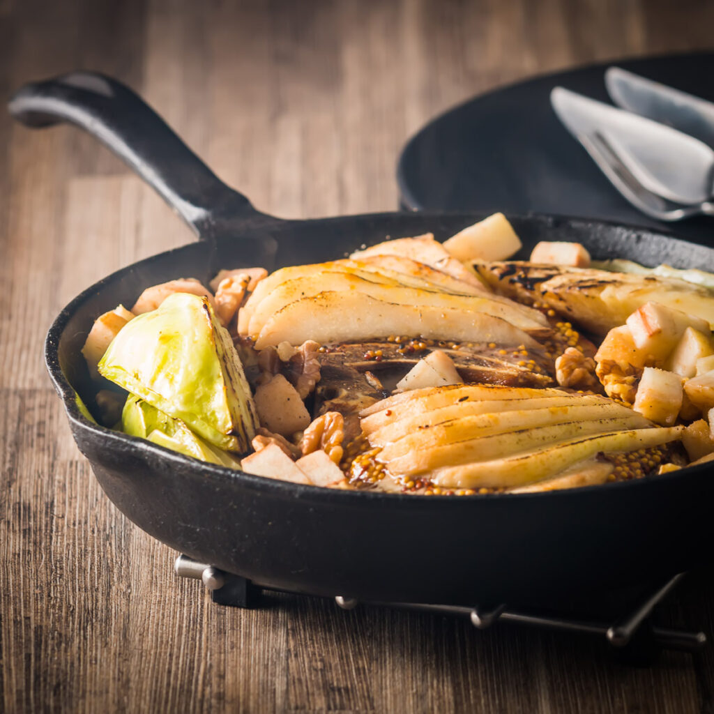 Skillet Pork Chop with Cabbage, Pear and Walnuts