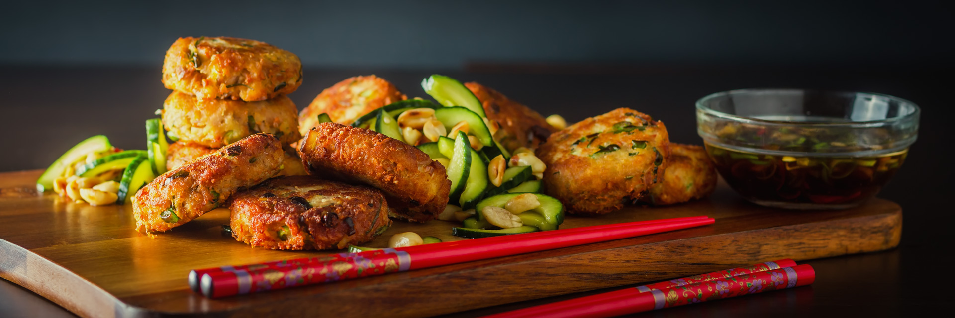 Spicy Tuna Fishcake With Cucumber Salad