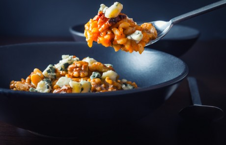 Pureed Pumpkin Risotto with Walnuts