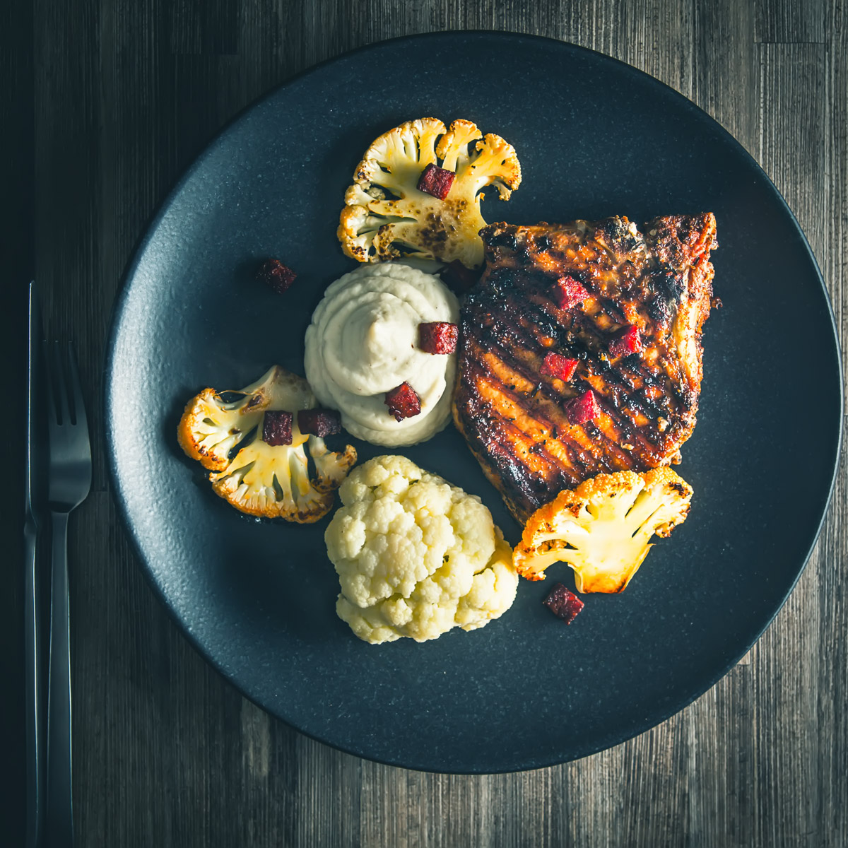 Spanish Pork Chops with Cauliflower