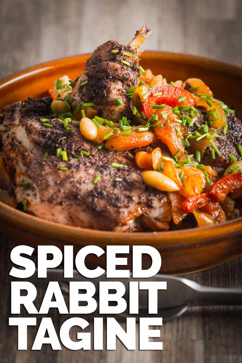 Rabbit is a beautifully lean and sustainable meat and this North African style spiced rabbit tagine is simple quick and wonderfully exotic. #taginerecipes #northafricanrecipes