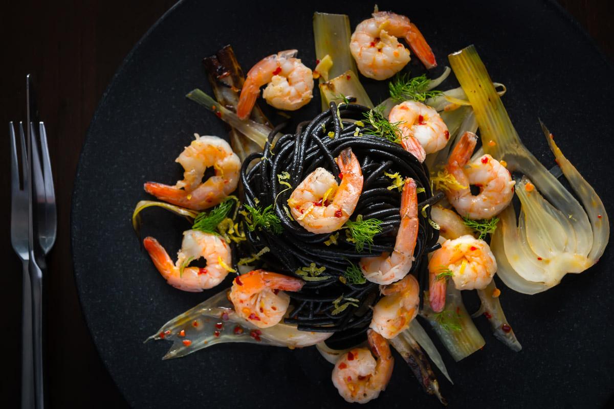 Squid Ink Spaghetti With Shrimp And Fennel Krumpli