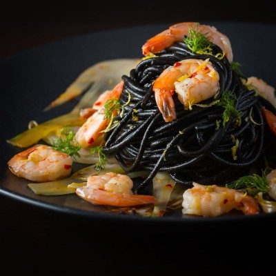 Squid Ink Spaghetti with Shrimp and Fennel