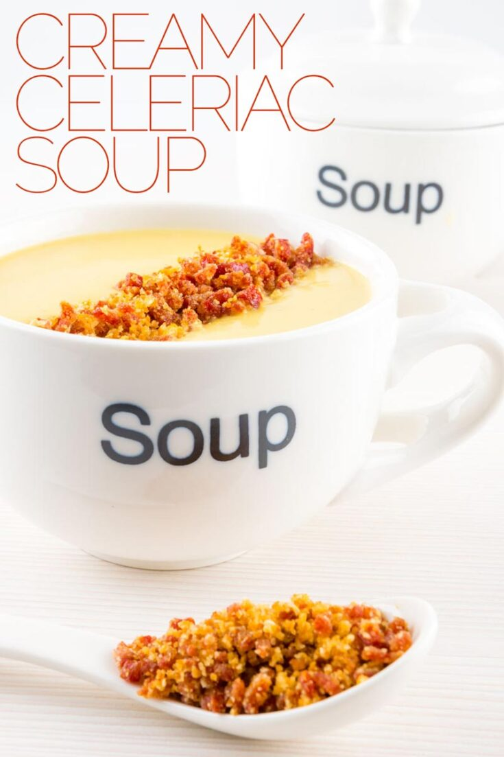 A Cream of Celeriac Soup as a perfect winter staple, packing loads of almost nutty 'celery' flavour and silky smooth with a fun crunchy topping. #vegetablesoup #creamysoup
