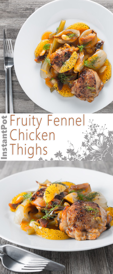 Cooking these Fruity Fennel Chicken Thighs in an Instantpot reduces the time an old favourite slow cooker recipe cooks by 5 hours