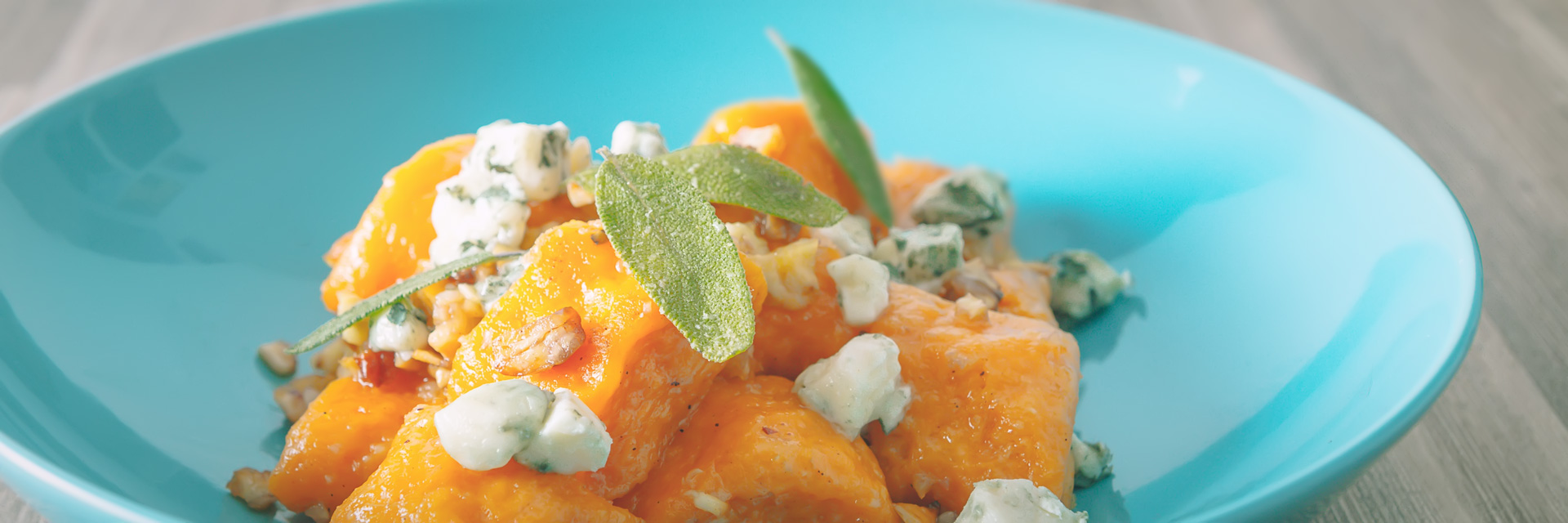 Pumpkin Gnocchi with Roasted Chestnuts and Blue Cheese