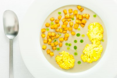 This delicious Cauliflower Veloute with Turmeric Potatoes is a soup that combines classic French techniques with Indian flavours.