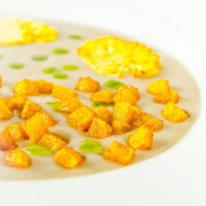 Cauliflower Veloute with Turmeric Potatoes
