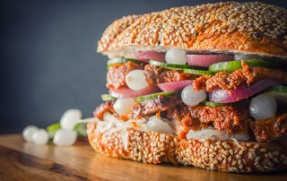 This BBQ Pork Sandwich is cooked in the InstantPot and then flashed under a grill, the served on a ciabatta style loaf with lots of pickles.