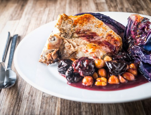 InstantPot Pork Chop with Red Cabbage, Prunes and Hazelnuts