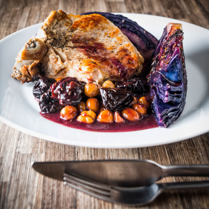 InstantPot Pork Chop with Red Cabbage and Prunes