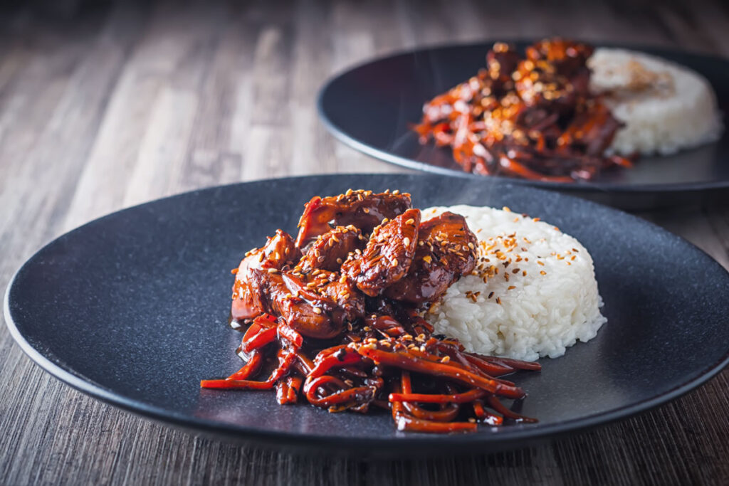 My carrot and ginger orange chicken is my take on 'Chinese' takeaway classic, loaded with wonderful winter flavours and a little chili heat.