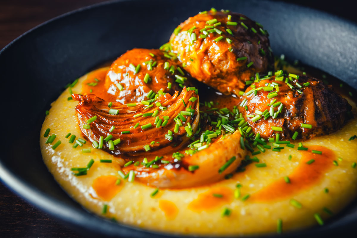 Braised-Pork-Meatballs-in-a-Beer-Sauce-on-Cheesy-Polenta-Feat