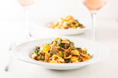 Pork Ragu that tastes like it has been slow cooked for 24 hours in an hour or so thanks to the InstantPot served with hearty Orecchiette Pasta.