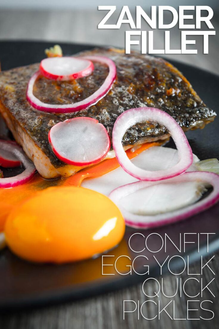Zander or pike perch is this star of this fancy looking but deceptively simple dish served with a confit egg yolk and is ready in 30 minutes that rocks the start of spring. #flakeywhitefish #dinnerfortwo #datenightfood #30minutemeal #confiteggyolkrecipe
