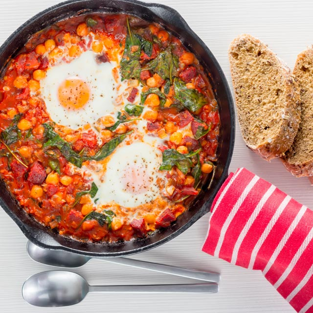 This Baked Chickpea and Tomato Skillet is the perfect lazy night dinner, so lazy in fact you could if eat it straight from the pan... Naughty!
