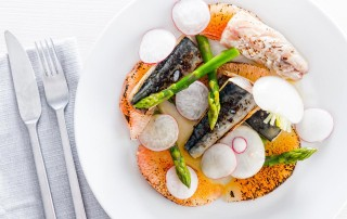 Cured Mackerel is teamed up with some honey pomelo and some asparagus in this delightful spring dish using a fun 'cooking' implement!