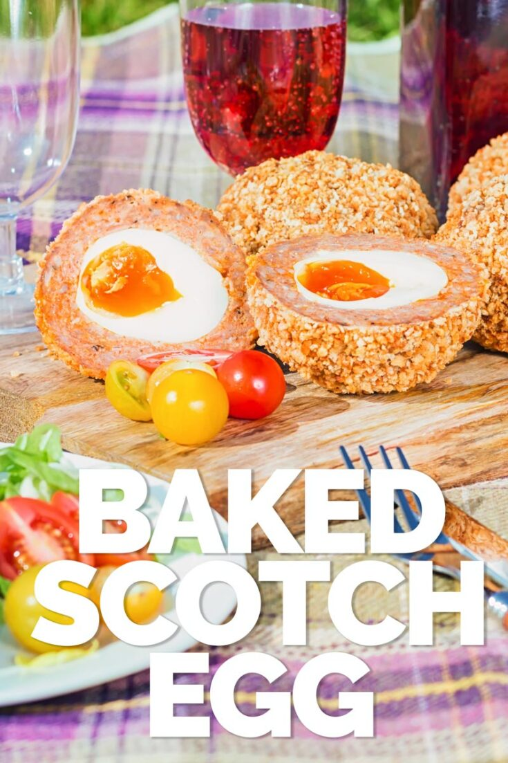 These baked scotch egg are perfect picnic fodder, robust enough to rattle around in a picnic basket and tasty enough to raise smiles all round! #picnicfood #britishfood