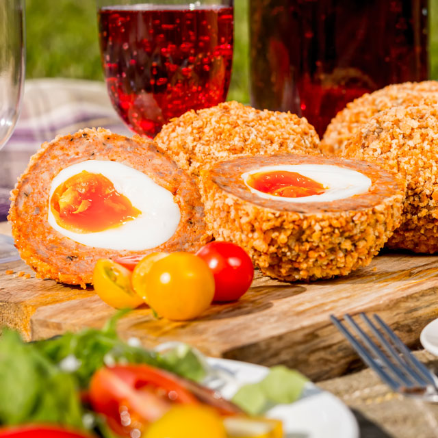 These baked scotch egg are perfect picnic fodder, robust enough to rattle around in a picnic basket and tasty enough to raise smiles all round!