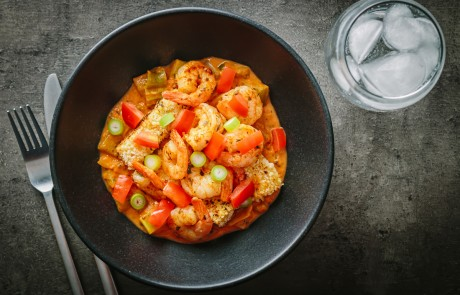 Creole Shrimp With Fried Polenta.