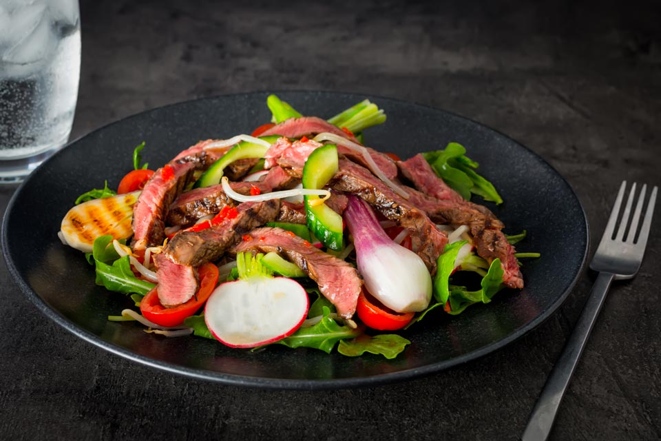 This Spicy Thai Beef Salad is a but of a mish mash of inspirations but the dressing is all Thai and packs a serious chili punch!