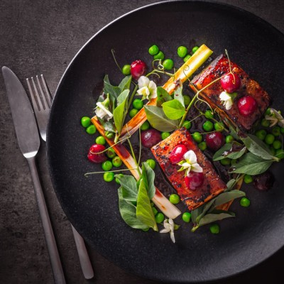 Pressed pork belly is always a winner with me, as a cut of meat pork belly is cheap and packs so much flavour. This is paired with cherries and peas.