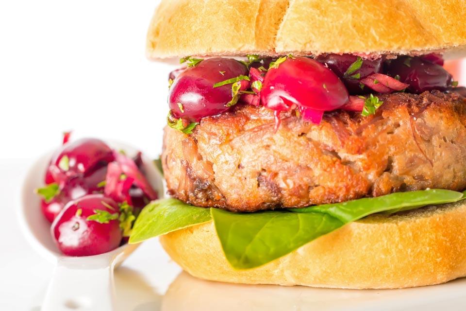 Shredded Duck Burger with Cherry Salsa
