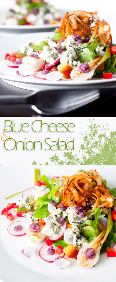 Few flavours work together quite like cheese and onion for me so this blue cheese and onion salad takes that idea and turns it up to 11.