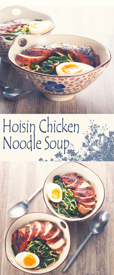 My Hoisin Chicken Noodle Soup is a homage to Wagamama a place I liked for quick food in the UK, an Asian inspired hoisin chicken breast in a simple broth