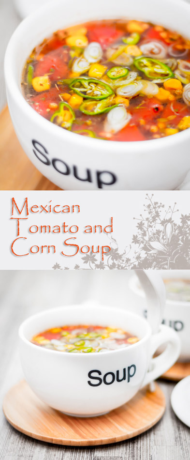 Corn is not just for butter, this 'Mexican' style corn and tomato soup or broth carries a nice kick of chili along with Cumin, Coriander and Oregano.