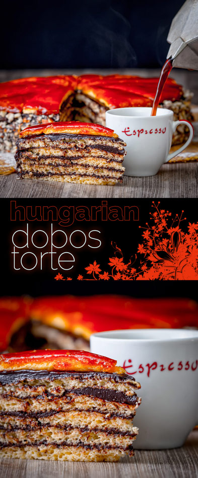 The Dobos Torte named after its creator József Dobos is a cake of legendary status in Hungary with its 6 layers, chocolate butter cream frosting and caramel topping.