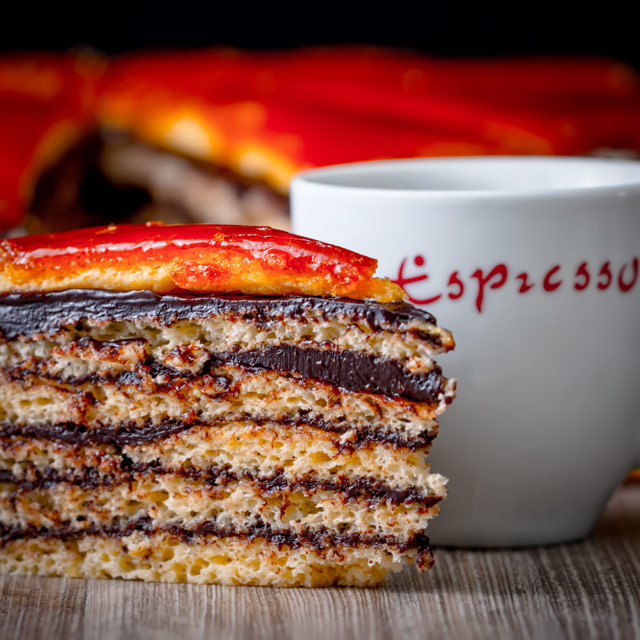 The Dobos Torte named after its creator József Dobos is a cake of legendary status in Hungary with its 6 layers, chocolate butter cream frosting and caramel topping