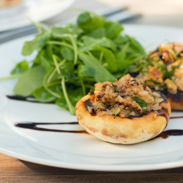 A BBQ need not be a meat feast, this simple balsamic and cheese grilled stuffed mushrooms are every bit as good as any burger that I know of!