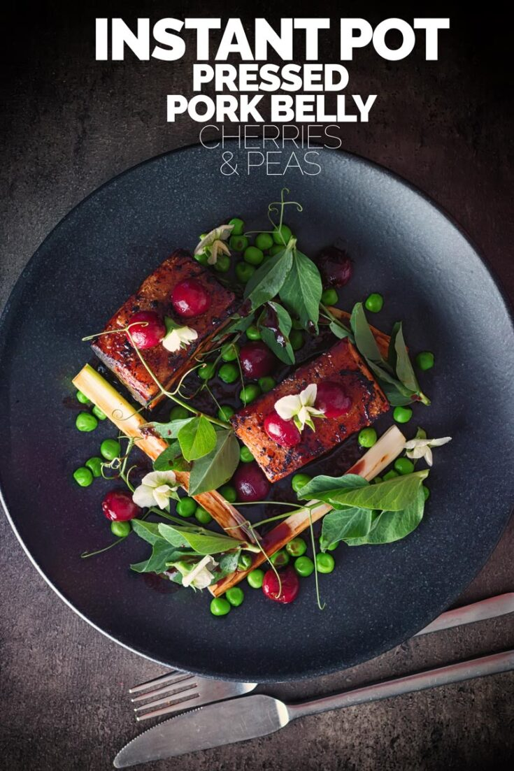 Pressed pork belly is always a winner with me, as a cut of meat pork belly is cheap and packs so much flavour. This is paired with cherries and peas, pea shoots and pea flowers.