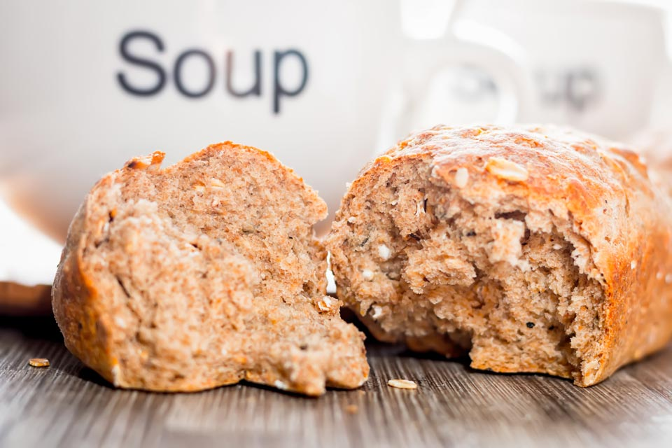 These mini wholegrain Oaty Rye Bread Loaves are my perfect soup bread, making the small means that there is more crust to dunk in your favourite soup!