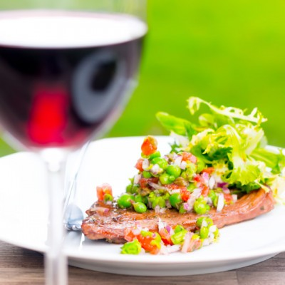 A wonderfully fresh summery minted pea salsa is the perfect compliment to a simply marinaded and grilled lamb leg steak.